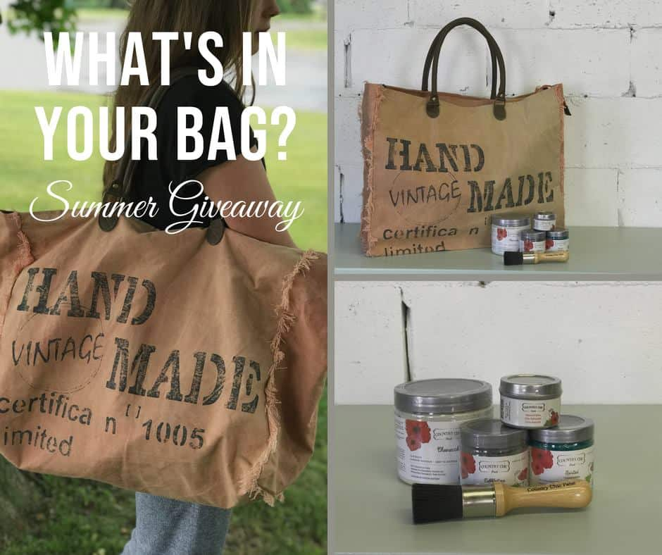 "Square collage of three pictures. Large pic on left is an image of a girl holding a large vintage bag over her shoulder. Image caption is ""What's in your bag?Summer Giveaway"". Top image on right is the bag with some Country Chic products in front of it. The bottom image is a close-up of Country Chic paint containers and a brush."