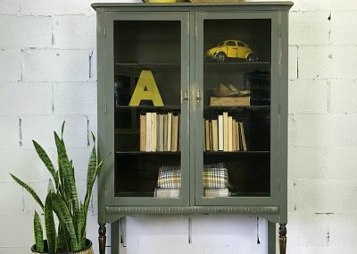 "Vintage Large Glass Door Cabinet- ""Carson"""